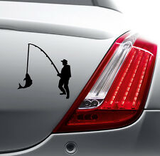 MAN FISHING FUNNY STICKER Car Bumper Van Window Laptop JDM VINYL DECALS STICKERS