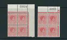BAHAMAS 1948 KGVI definitive (SG 151/151a 3d) VF MNH numbered blks/4
