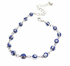 Womens Stainless Steel Silver Blue Evil Eye Charms Bracelet 8''