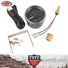 SAAS Oil Temp Gauge Black Face Dial 52mm Multi Colour + Sender & Fitting Kit New