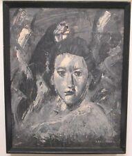LEON KAHN POST IMPRESSIONIST BLACK & WHITE PORTRAIT OF WOMAN