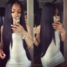 "14"" Straight Natural Black Brazilian Human Hair Lace Front Wig for Black Women"