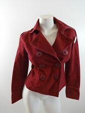 AMERICAN EAGLE OUTFITTERS WOMENS RED BRUSHED COTTON PEACOAT JACKET SIZE XS