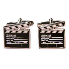 White & Black Movie Film Clapper Board Cufflinks With Gift Pouch Actor Actress