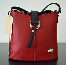 Vera Pelle Italian Scratch Resistant Red Leather Crossbody/Shoulder/Bucket  Bag