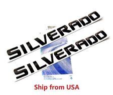 2x GENUINE Black SILVERADO Nameplate Emblems Badge Chevrolet 1500 2500 letter FU