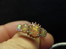 White Fire Opal & Orange Garnet ladies Silver Ring womans STUNNING! Size 11