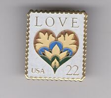 """LOVE USA 22 cents"" with a Heart replica of a USPS postage stamp Pin"