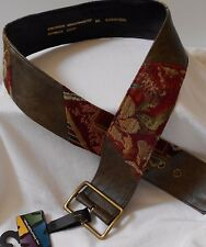 FALL NO BOUNDARIES COTTON FAUX LEATHER BROWN/OLIVE TAPESTRY BELT M/L WIDE