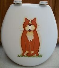 HAND PAINTED CAT TOILET SEAT/WHIMSICAL/STANDARD WHITE