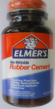 ELMER'S NO WRINKLE RUBBER CEMENT w Brush Applicator, Photo Safe 4 oz E904