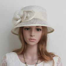 New Woman Church Derby Wedding Sinamay Dress Hat C45 Ivory