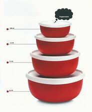 TUPPERWARE® 4 Essentials Blossom Serving Bowls/ Seals, RED ** NEW **