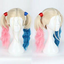 Batman Suicide Squad Harley Quinn Pink Blue Gradient Cosplay Wig Ponytail