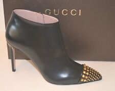 353724 AUTHENTIC GUCCI MALAGA KID BLACK LEATHER STUDDED BOOTIES  7.5  37.5