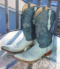 Men's Alacran De Durango Blue Custom Alligator Scorpion Cowboy Boots Size 7