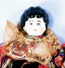 Antique China Doll Black Hair Cloth Body Silk Gown Germany 1890s 9 in