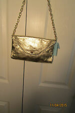 Marciano Handbag, NWT, Gold, chain strap, flap to close, Leather