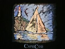 Vintage Cape Cod Lighthouse Painting Art Massachusetts T Shirt L