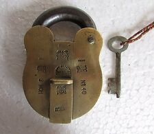 1930's Vintage Old Unique Shape Lion Monogram Engraved Solid Brass Padlock Rare