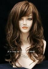 Beautiful Brown Auburn Mix Wavy and Long Wig with skin top JSPP RS30