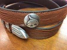 Brown Genuine Leather Belts With Texas State University Bobcat Conchos 32