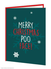 Brainbox Candy Rude Christmas Xmas Card 'Poo Face' funny cheeky humour joke
