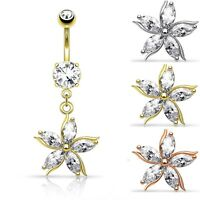 Crystal Flower Belly Bar / Navel Ring With CZ Shard Petals