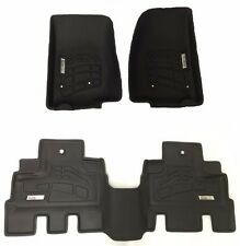 Front & Second Black Floor Mats for a 2014 - 2016 Jeep Wrangler Unlimited