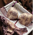 Womens Sexy Underwear Satin Print Lace Embroidery Bra Sets / Panties B C D Cup