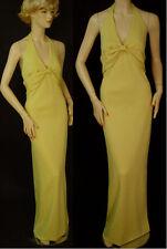 NWT ST JOHN COUTURE Milano Knit Gown, sz 6  Lemon Grass, Halter, Empire Waist