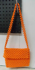Vintage Retro ORANGE Beads Handbag Purse Ritter Made in Italy