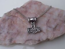 Thor's 3D Hammer Amulet, Mjölnir, Norse Viking Mythology, Chain Necklace