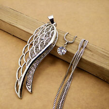 Silver-plated Mosaic crystal wing chain Fashion charm long necklace EE529