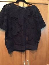 ISABEL MARANT ETOILE  SZ M Calice Embroidered Crocheted Floral Black Top