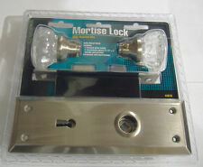 MORTISE LOCK WITH GLASS DOOR KNOBS SATIN NICKEL VINTAGE STYLE SKELETON KEY