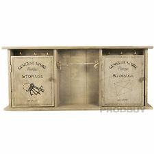 Wall Mounted VINTAGE GENERAL STORE Key Storage Cabinet SHABBY CHIC SCATOLA memo clip