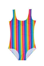 RAINBOW STRIPES BODYSUIT SWIMSUIT WOMENS CUTE TUMBLR PRINT FUN MULTI COLOUR 70S