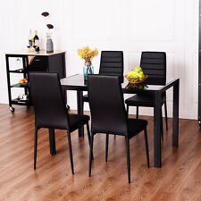 5 Piece Dining Set Tempered Glass  Table and 4 Chairs Kitchen Dining Room Black