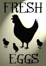 Shabby Chic Stencil Chicken Fresh eggs Rustic Mylar Vintage A4 297x210mm wall