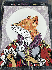 Silk Screened Outsider Folk Art Screen Print Pop Art Royal Fox Queen Limited Odd