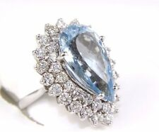 Fine Pear Cut Blue Topaz Solitaire Ring w/Diamond Halo 14k White Gold 14.57Ct