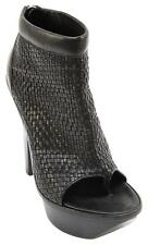 Alexander Wang 2009 Black Leather PLATFORM Ankle Boot Open Toe Bootie Silver 39
