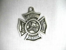 NEW FIRE FIGHTER SHIELD HOOK & LADDER HYDRANT CAST PEWTER PENDANT ADJ NECKLACE