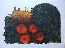 """selten ROBERT TAVENER 4877-5090cmCountry Garten"""" LINOCUT Limitierte Auflage"""