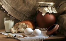 Framed Print - Still Life Eggs Bread Clay Pot Milk (Picture Poster Art Food)
