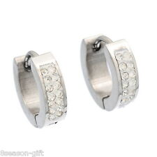 1Pair Stainless Steel Silver Tone Hoop Earrings With White Zircon
