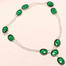 LOVELY FACETED GREEN TOURMALINE 925 STERLING SILVER NECKLACE 36""