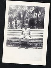 Antique Photograph Sexy Shirtless Man in Skimpy Shorts on Bench Gay Interest