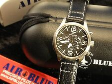 Pilots Air Blue Quartz Chronograph Watch Bravo SS Cockpit New